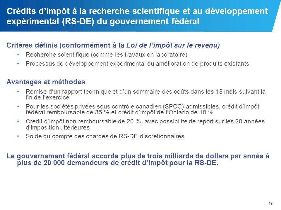 Crédits d'impôt à la recherche scientifique et au développement expérimental (RS-DE) du gouvernement fédéral