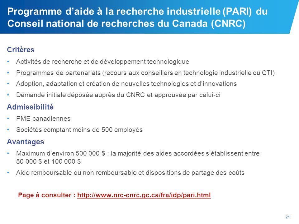 Programme d'aide à la recherche industrielle (PARI) du Conseil national de recherches du Canada (CNRC)