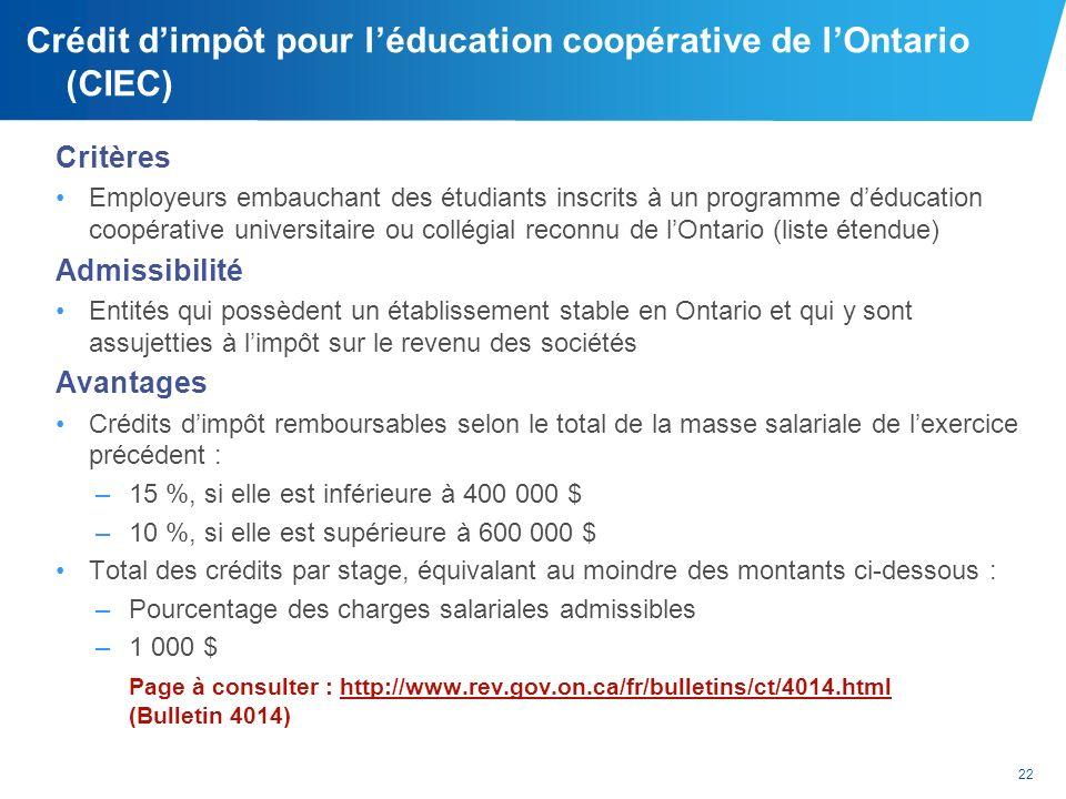 Crédit d'impôt pour l'éducation coopérative de l'Ontario (CIEC)