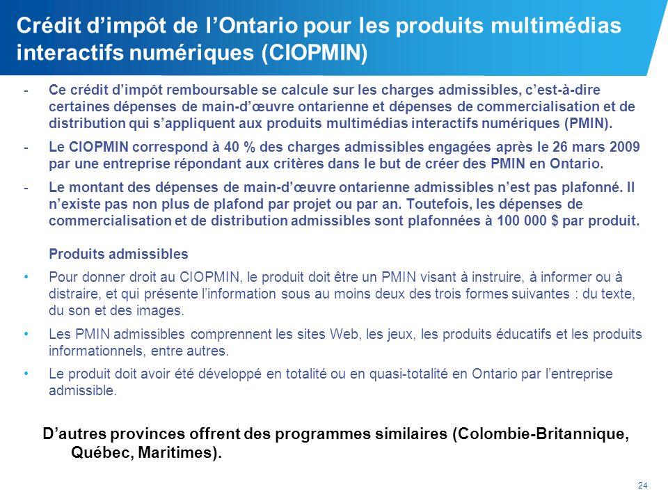 Crédit d'impôt de l'Ontario pour les produits multimédias interactifs numériques (CIOPMIN)