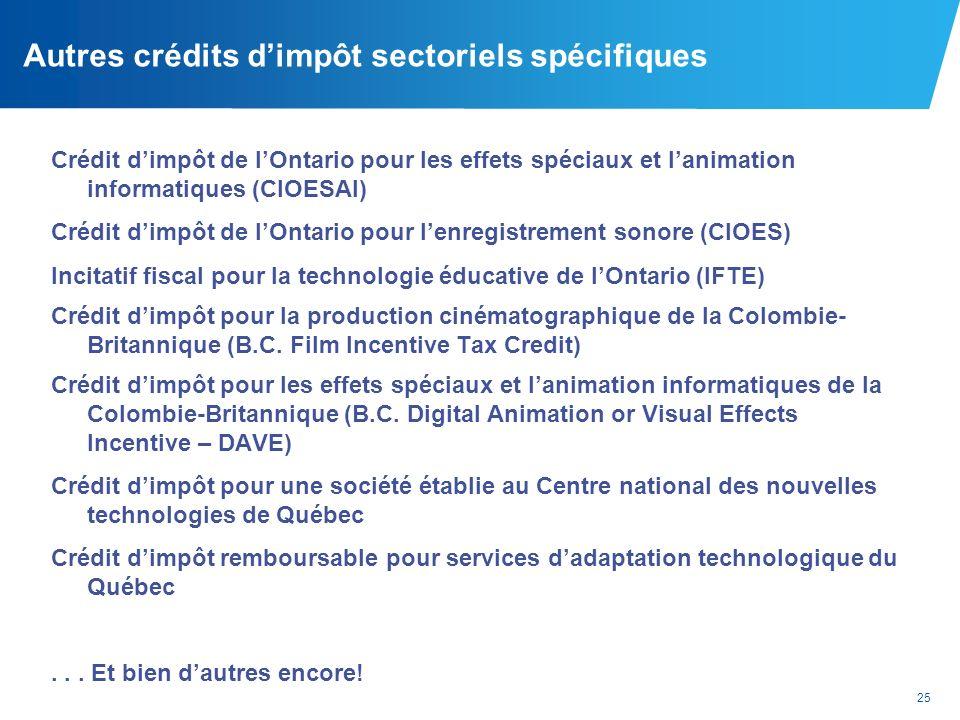Autres crédits d'impôt sectoriels spécifiques