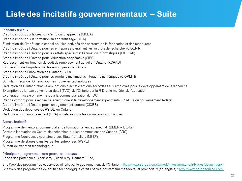 Liste des incitatifs gouvernementaux – Suite
