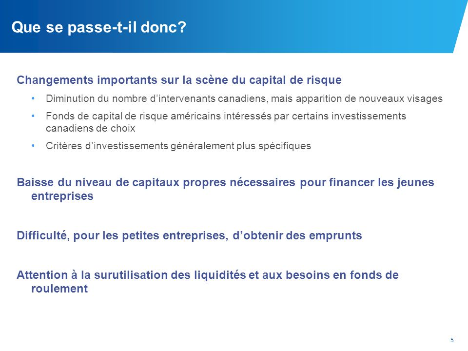 Que se passe-t-il donc Changements importants sur la scène du capital de risque.
