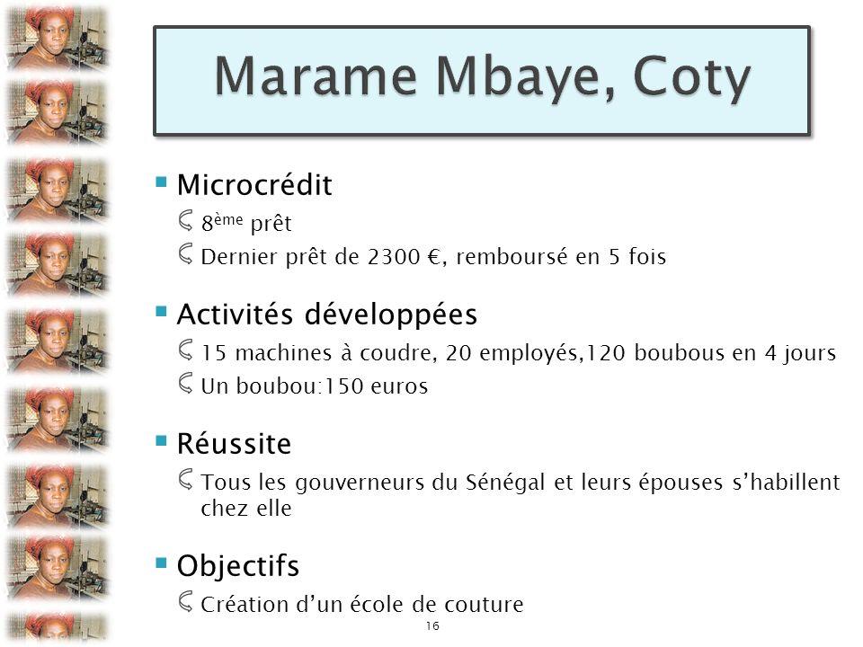 Marame Mbaye, Coty Microcrédit Activités développées Réussite