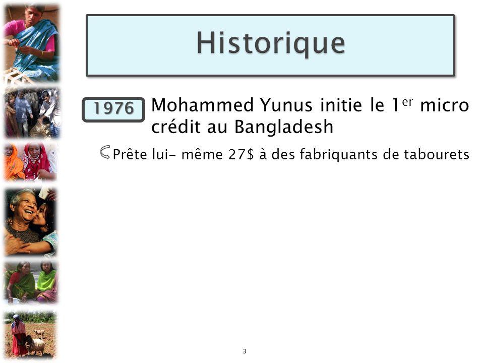 Historique 1976 Mohammed Yunus initie le 1er micro crédit au Bangladesh. Prête lui- même 27$ à des fabriquants de tabourets.