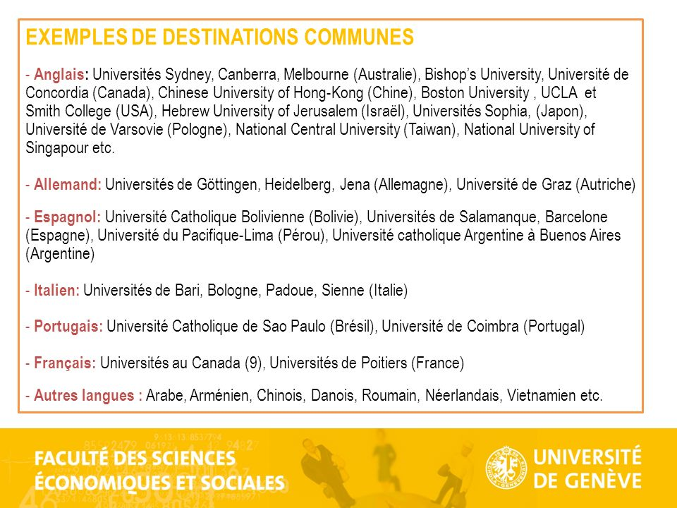 EXEMPLES DE DESTINATIONS COMMUNES
