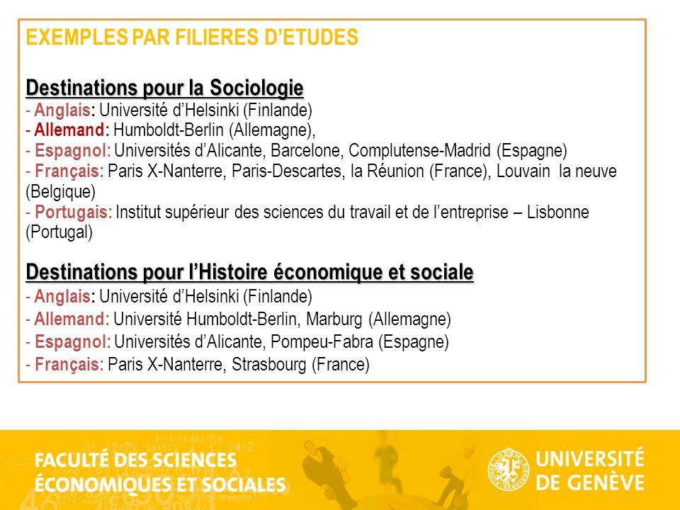 EXEMPLES PAR FILIERES D'ETUDES Destinations pour la Sociologie