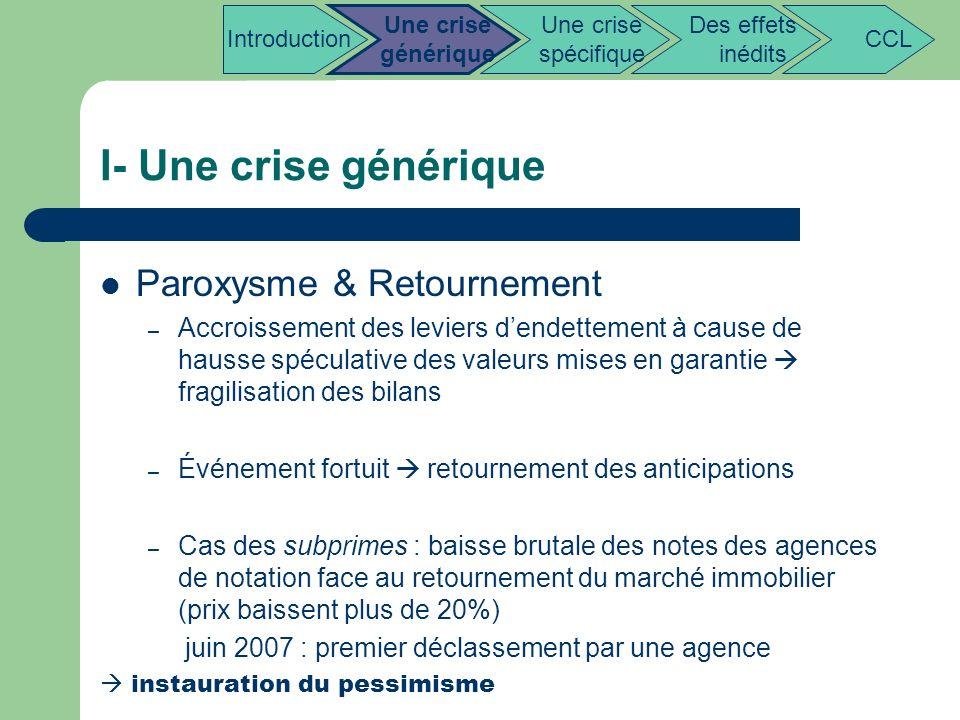 I- Une crise générique Paroxysme & Retournement