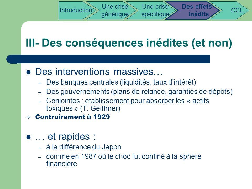 III- Des conséquences inédites (et non)