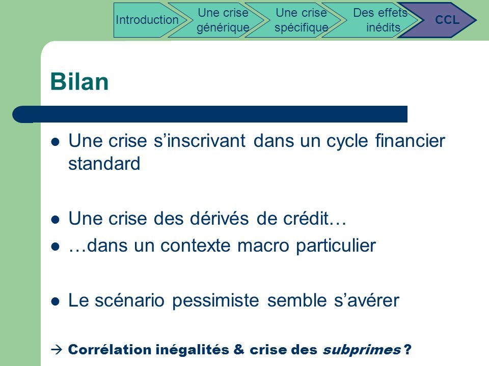 Bilan Une crise s'inscrivant dans un cycle financier standard
