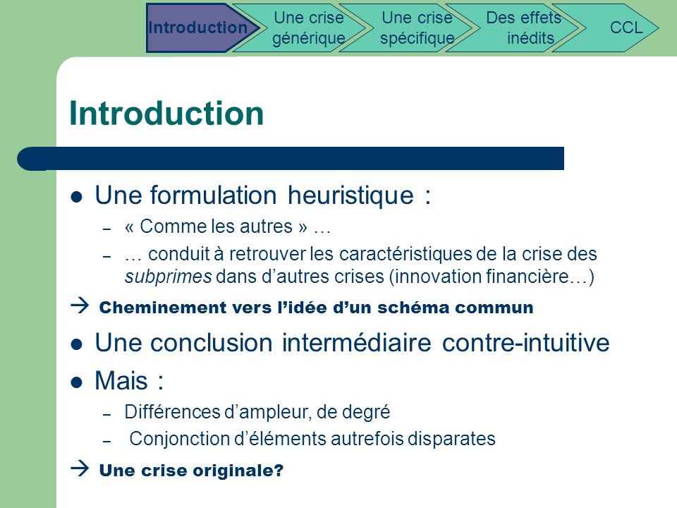 Introduction Une formulation heuristique :