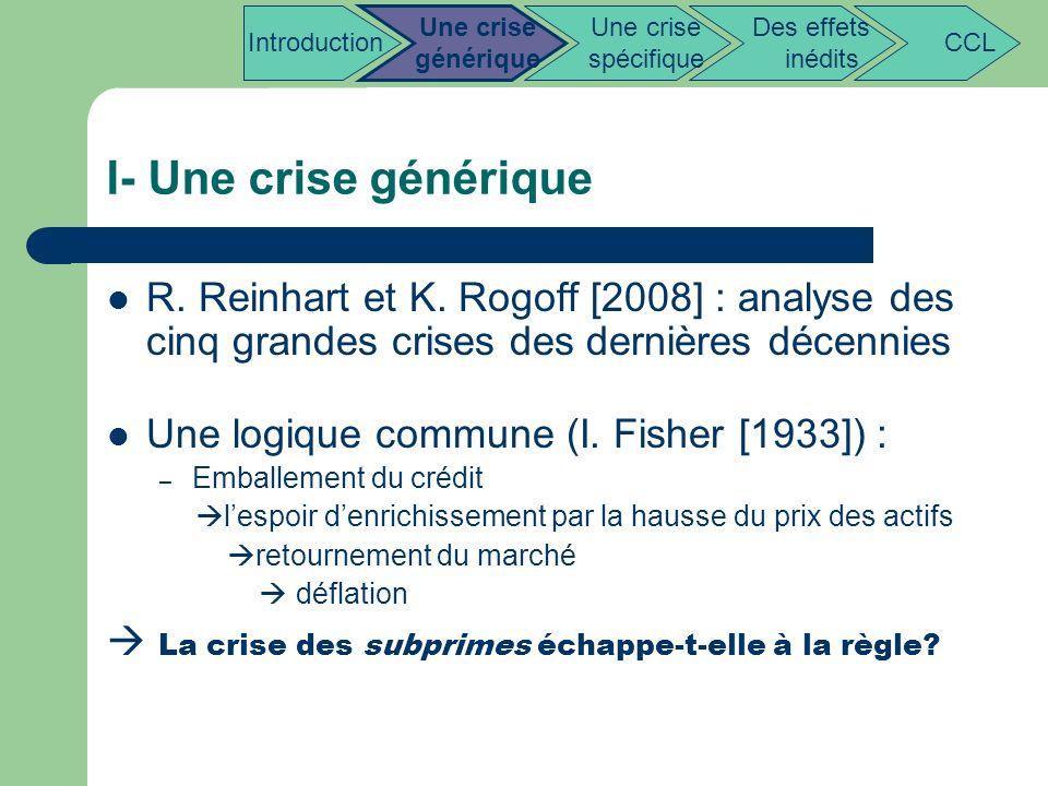 Introduction Une crise. générique. Une crise. spécifique. Des effets. inédits. CCL. I- Une crise générique.