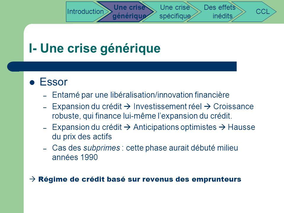 I- Une crise générique Essor