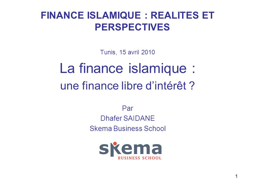 FINANCE ISLAMIQUE : REALITES ET PERSPECTIVES
