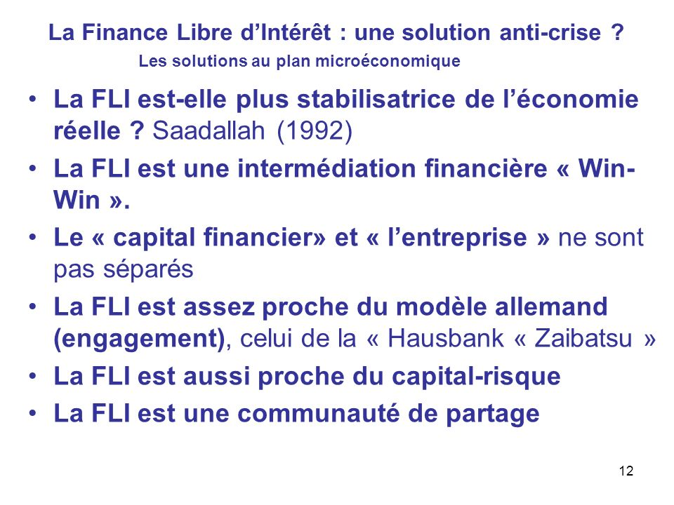 La Finance Libre d'Intérêt : une solution anti-crise