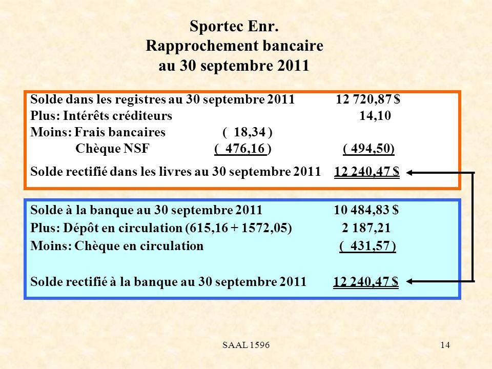 Sportec Enr. Rapprochement bancaire au 30 septembre 2011