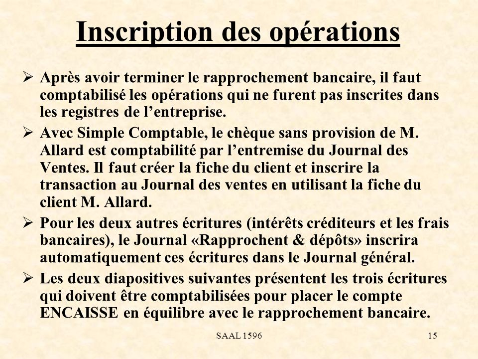 Inscription des opérations