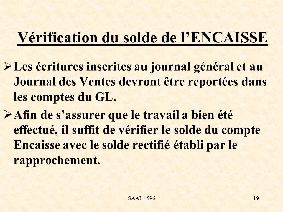 Vérification du solde de l'ENCAISSE