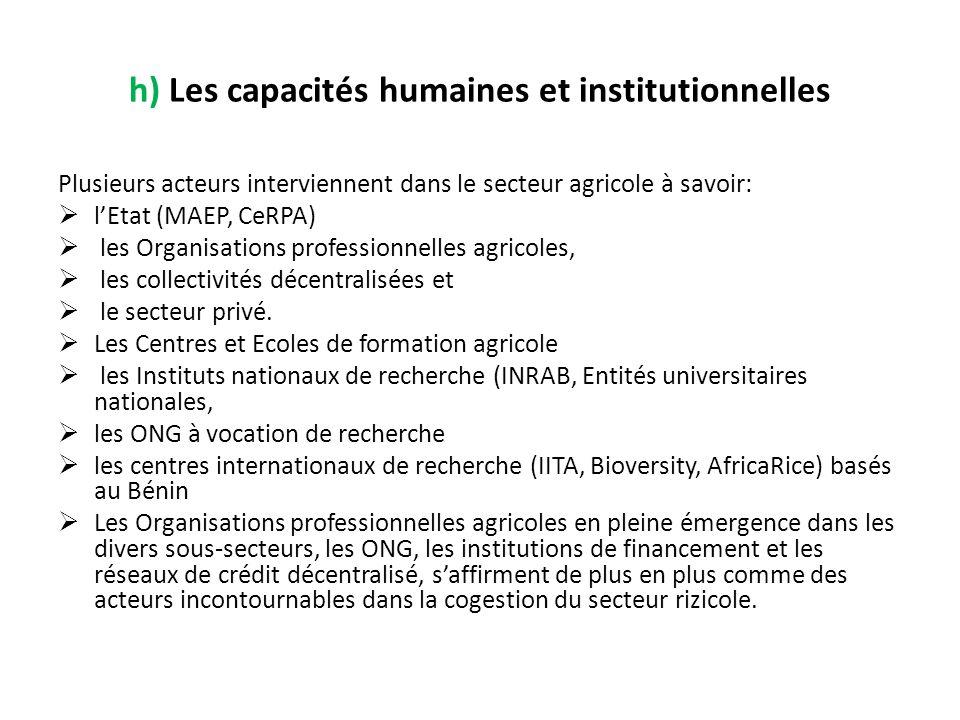 h) Les capacités humaines et institutionnelles