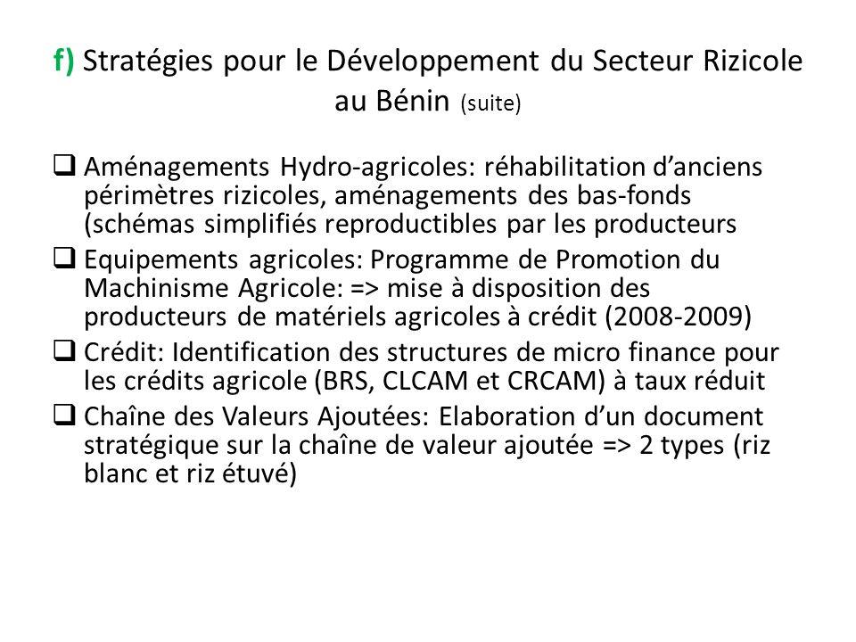 f) Stratégies pour le Développement du Secteur Rizicole au Bénin (suite)