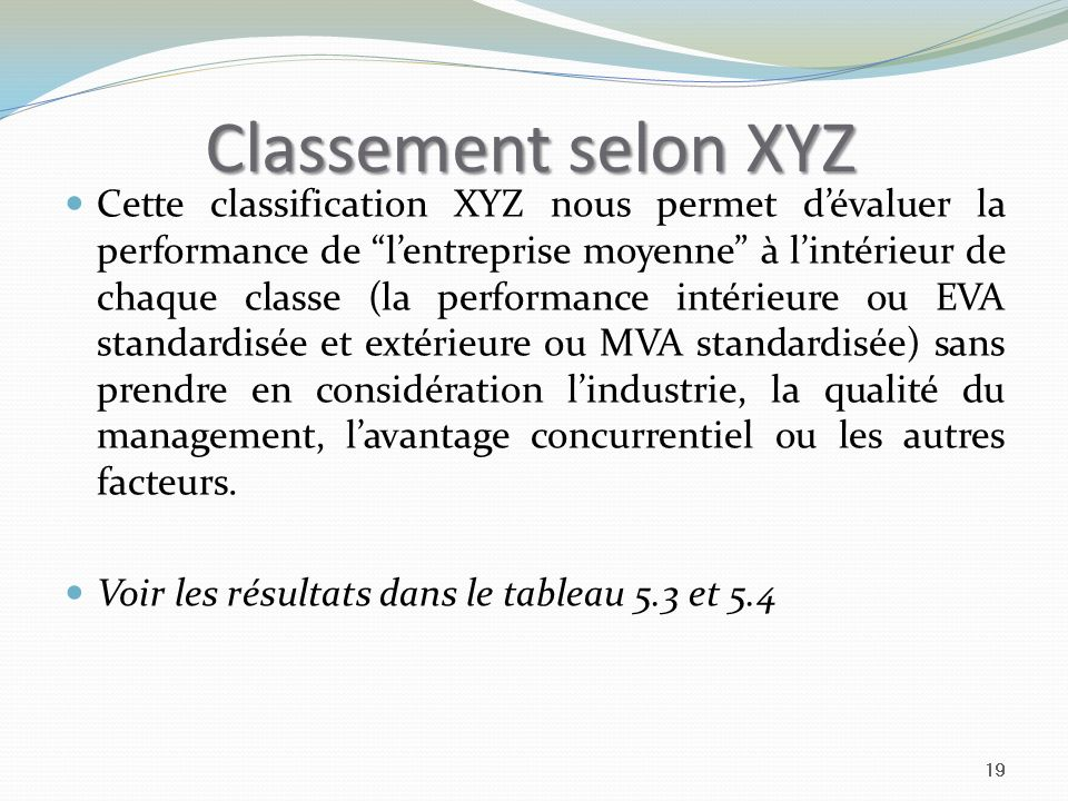 Classement selon XYZ