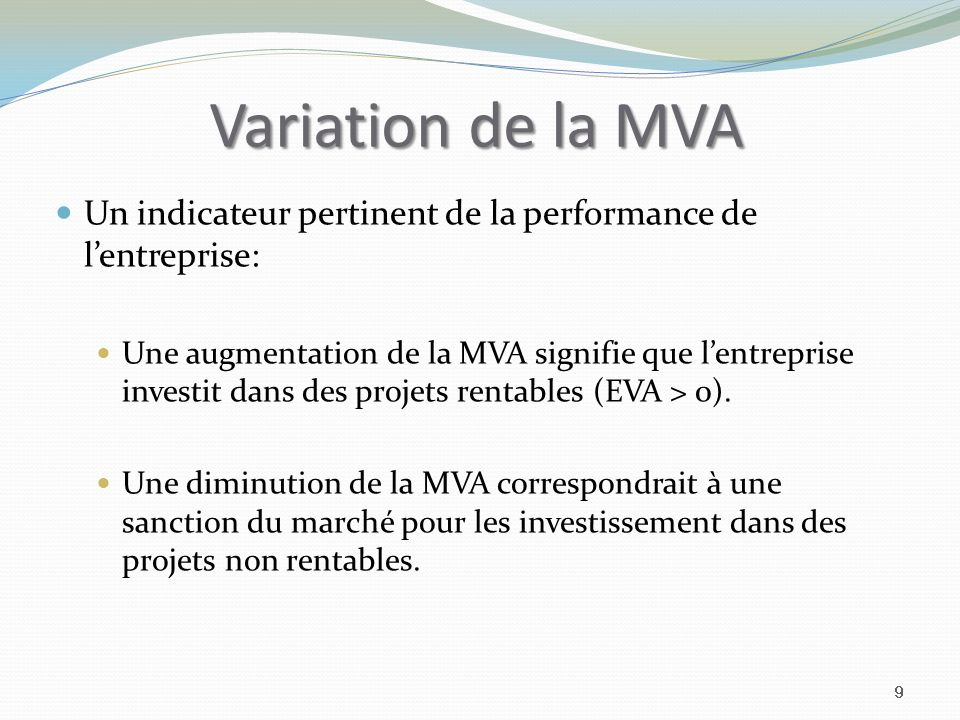 Variation de la MVA Un indicateur pertinent de la performance de l'entreprise: