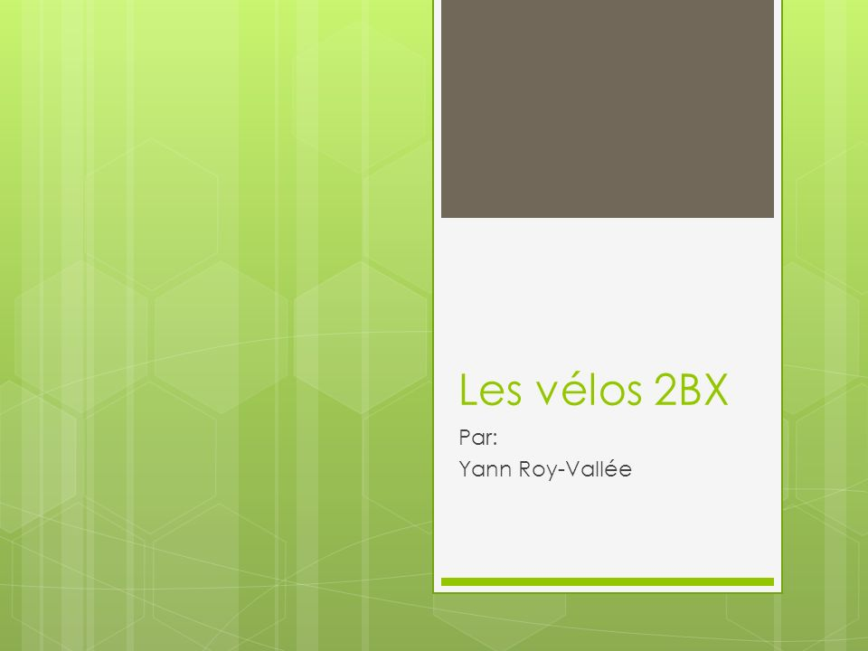Les vélos 2BX Par: Yann Roy-Vallée