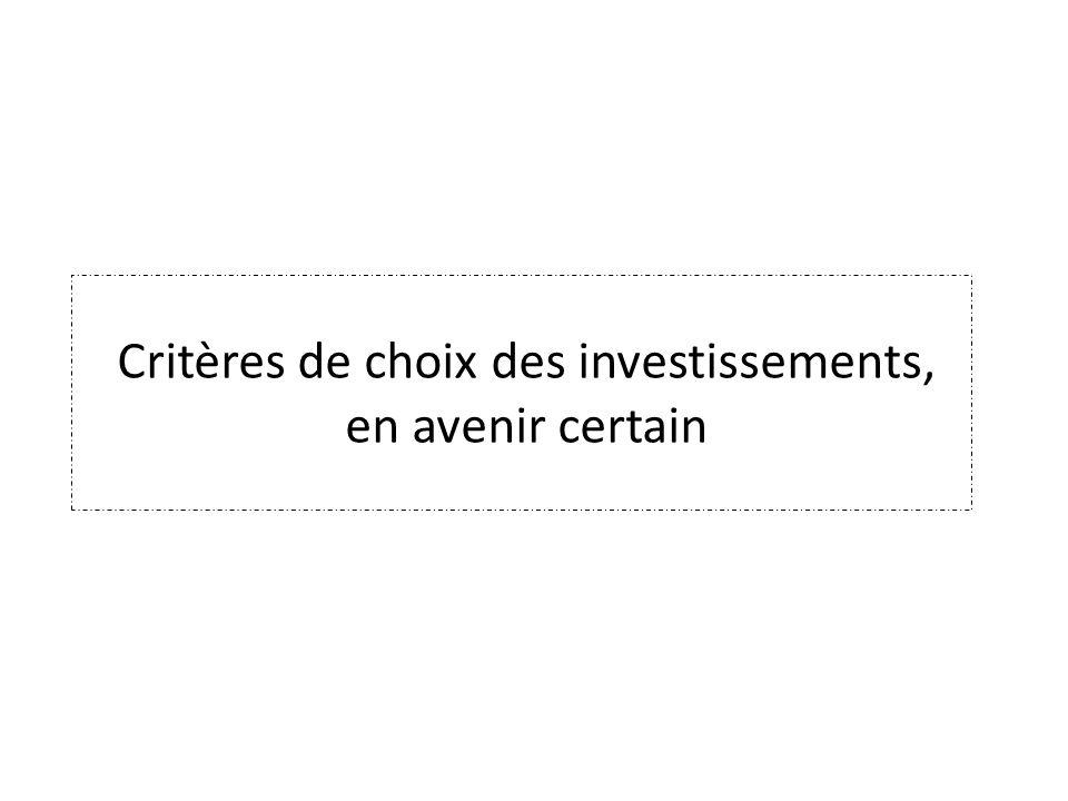 Critères de choix des investissements, en avenir certain