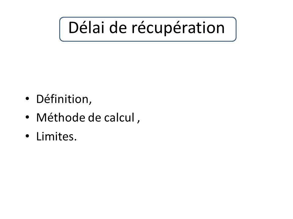 Délai de récupération Définition, Méthode de calcul , Limites.
