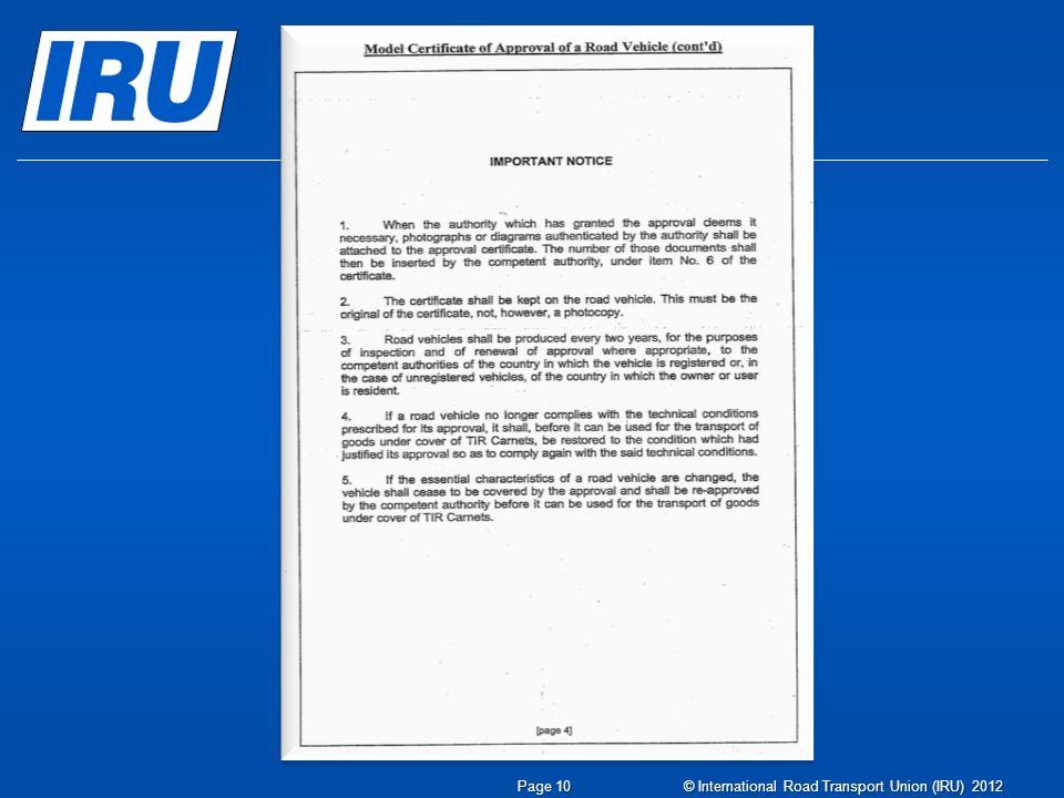 © International Road Transport Union (IRU) 2012