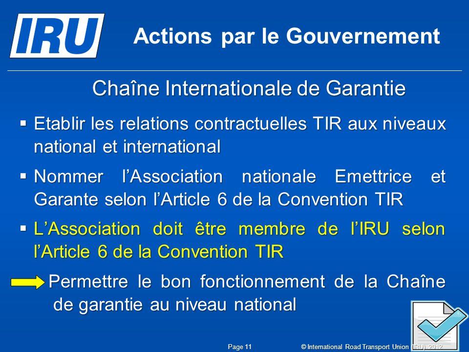 Actions par le Gouvernement