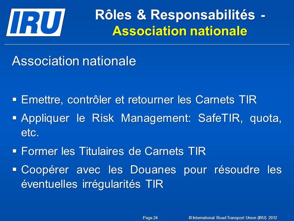 Rôles & Responsabilités - Association nationale