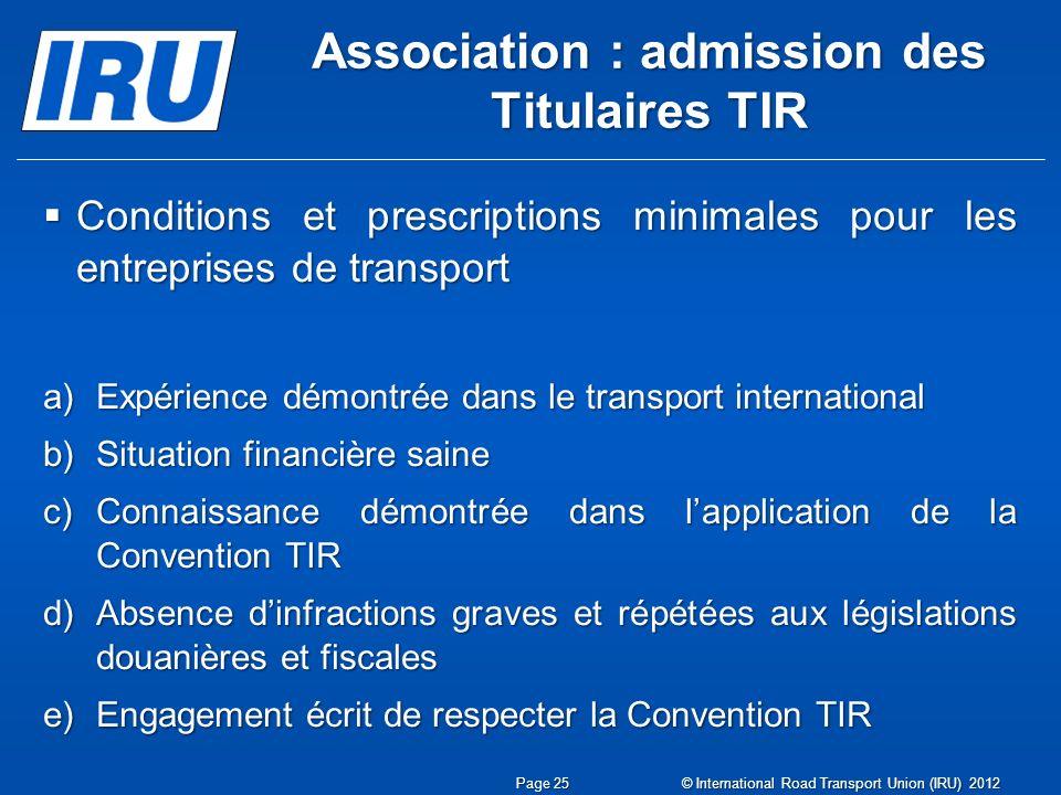 Association : admission des Titulaires TIR
