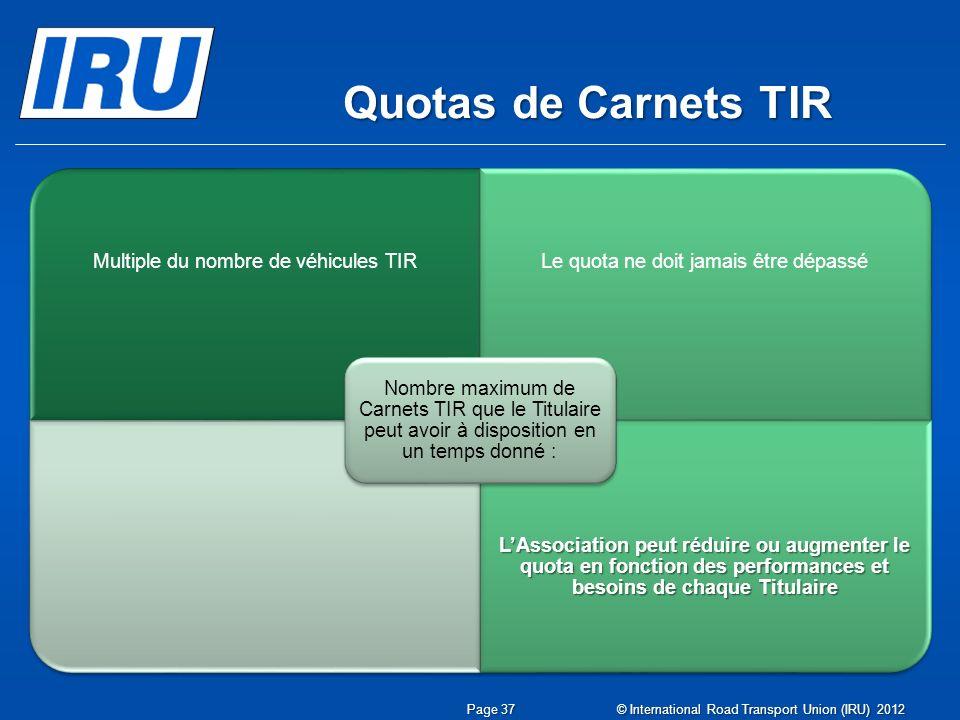 Quotas de Carnets TIR © International Road Transport Union (IRU) 2012