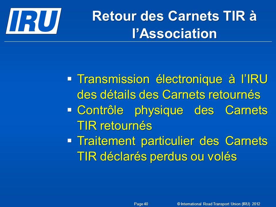 Retour des Carnets TIR à l'Association