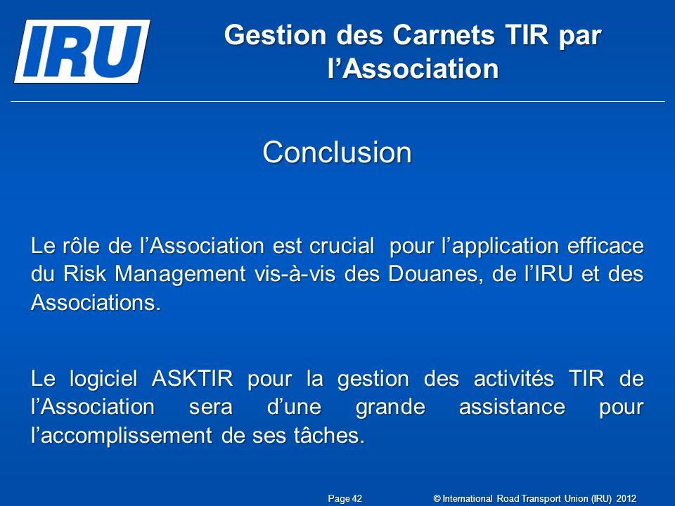 Gestion des Carnets TIR par l'Association