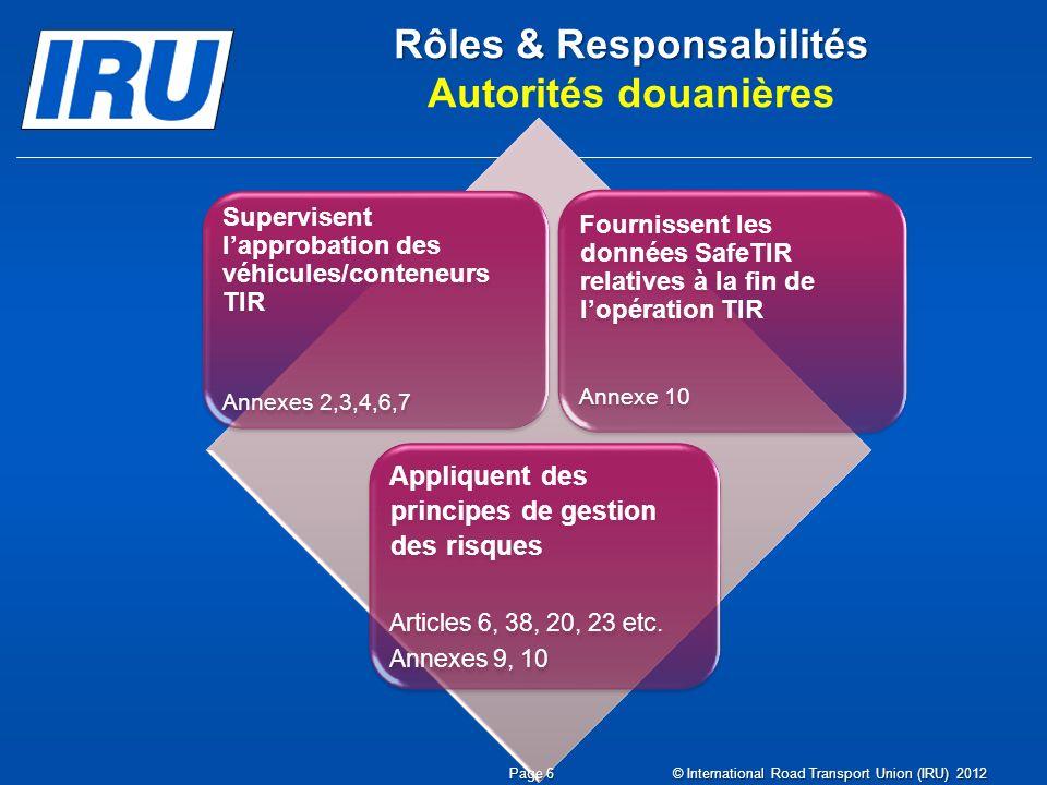 Rôles & Responsabilités Autorités douanières