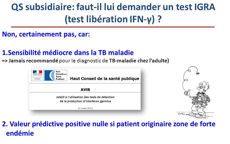 QS subsidiaire: faut-il lui demander un test IGRA (test libération IFN-γ)
