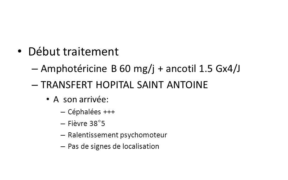 Début traitement Amphotéricine B 60 mg/j + ancotil 1.5 Gx4/J