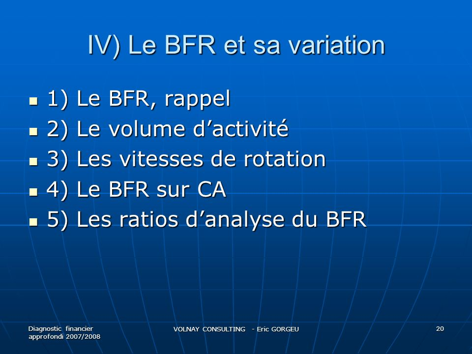 IV) Le BFR et sa variation