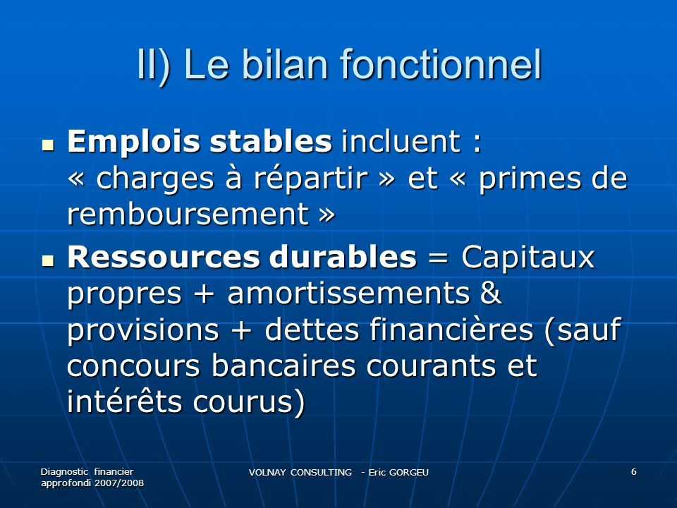 II) Le bilan fonctionnel