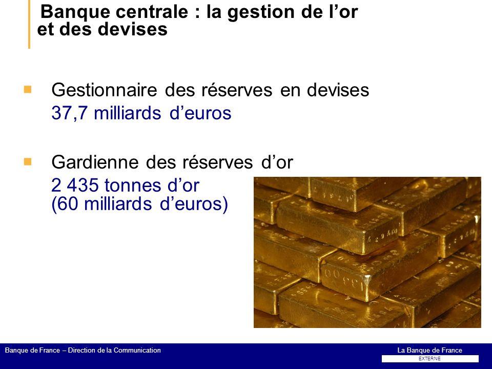 Banque centrale : la gestion de l'or et des devises