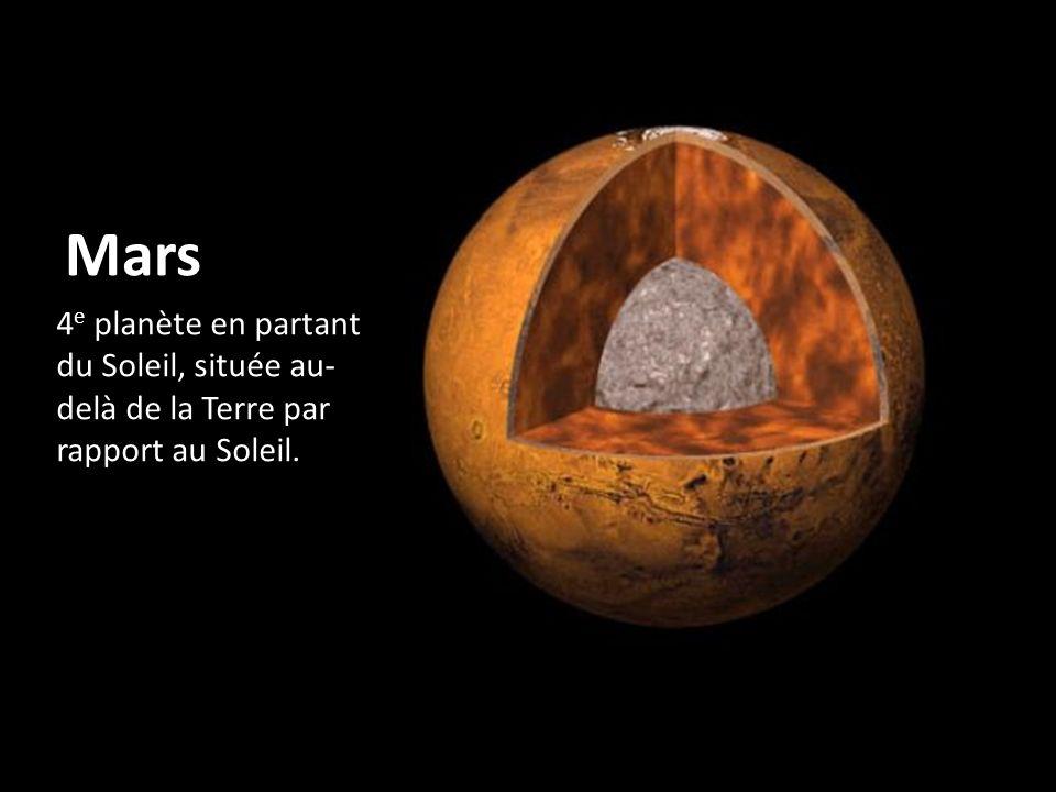 Mars 4e planète en partant du Soleil, située au-delà de la Terre par rapport au Soleil.