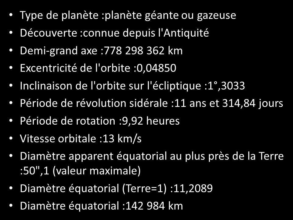 Type de planète :planète géante ou gazeuse