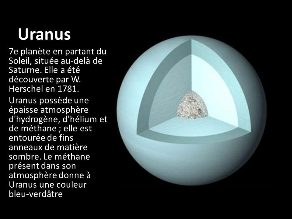 Uranus 7e planète en partant du Soleil, située au-delà de Saturne. Elle a été découverte par W. Herschel en 1781.