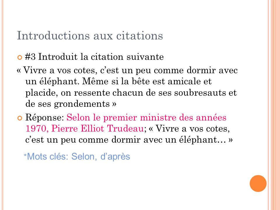 Introductions aux citations