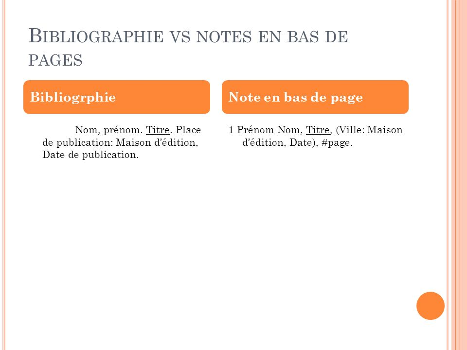 Bibliographie vs notes en bas de pages