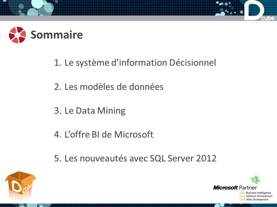 Sommaire Le système d'information Décisionnel Les modèles de données