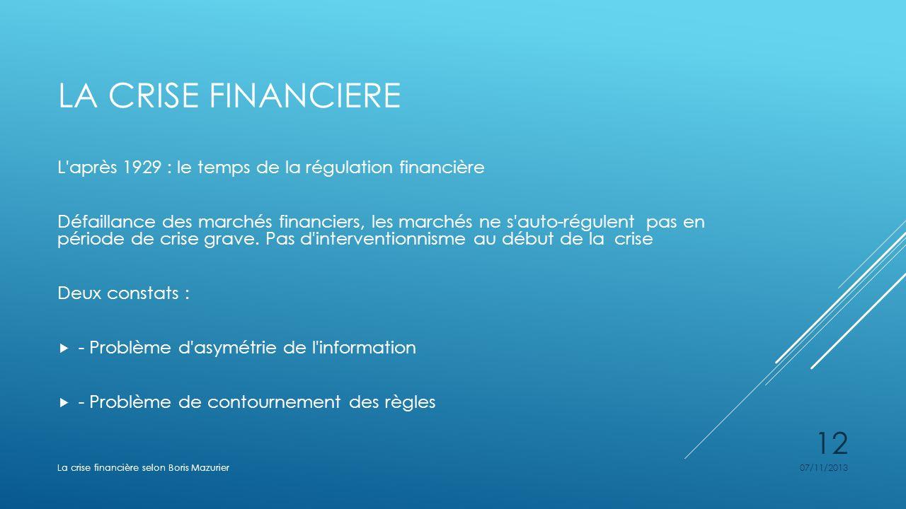 La crise financiere L après 1929 : le temps de la régulation financière.