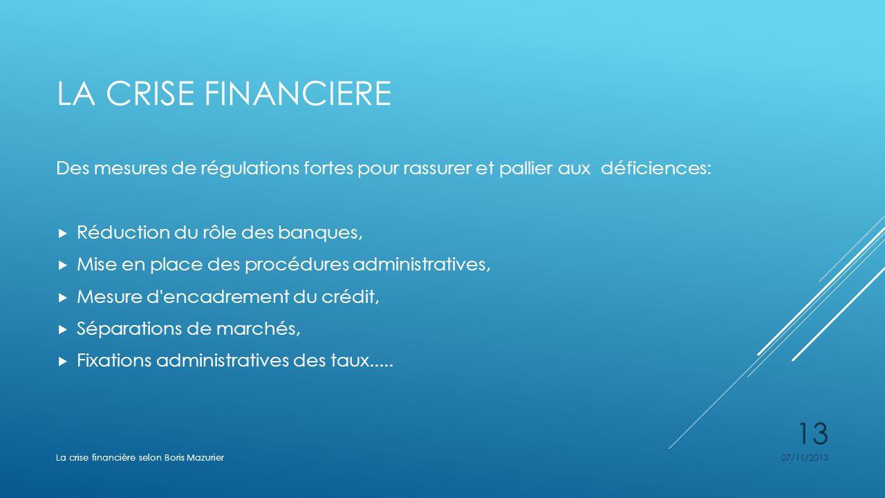 La crise financiere Des mesures de régulations fortes pour rassurer et pallier aux déficiences: Réduction du rôle des banques,
